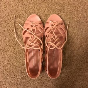 Dirty laundry pink pvc lace up sandals size 7